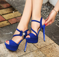 Wholesale 14cm blue wedding shoes flower buckles waterproof taiwan high heel shoes party evening shoes bridal wedding shoes yzs168