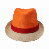 Wholesale New Stingy Brim Hats Unisex Bright Color Orange Hat Men Women Panama Cap Fashion Warm Fedora Hat Straw Cap DUU1