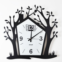 Digital   Creative arts, wrought iron wall clock tree house supe movement mute mute clock clocks