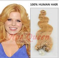 Wholesale Hot Queen Body Wavy Blonde Human Hair Extension Premium Micro Loop Ring Hair Extension Brazilian Premium Hair inch