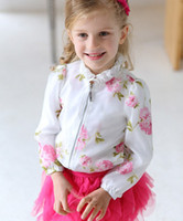 Wholesale High Quality Girl s Coat Kids Clothes Organza Flower Printing Long Sleeve Girls Cardigan Zipper Fashion Clothing Child Girl Outwear C1370