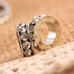 Wholesale 100pcs Clear Crystal Rhinestone Silver Wheel European Charm Big Hole Spacer Beads Fit Bracelet Jewelry Findings