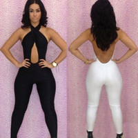 Wholesale Sexy Crosses Jumpsuits - Woman White Black Bodycon Jumpsuit Bodysuit Cross Front Backless Romper Bodysuit Sexy Sleeveless Playsuit Club Wear MKD0210