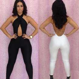 Wholesale Woman White Black Bodycon Jumpsuit Bodysuit Cross Front Backless Romper Bodysuit Sexy Sleeveless Playsuit Club Wear MKD0210