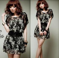 Round belted silk dress - HT032 New summer women Bohemian silk lace chiffon short sleeve slim one piece dress with belt S XL