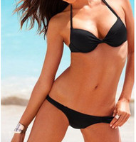 Women Bikinis Pure Colour on sale Women bikini sets halter push up two-pieces separate bathing suit tanga green black vestidos femininos pin up New 2014 swimwear