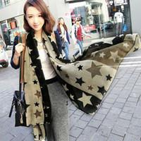 Wholesale NEW Women Fashion Scarves Pentagram Pattern cm Big Voile Scarf Ladies Cofortable pallium Drop shipping
