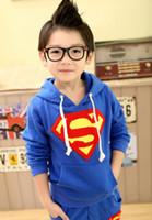 Wholesale 2014 New Kids Superman baby boy child sweater suit set