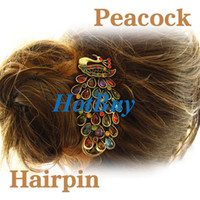 Wholesale Retro Colorful Vintage Alloy Crystal Jewelry Peacock Hairpin Hair Clip Bronze