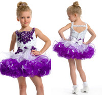 Reference Images Toddler Beads 2014 Custom made ruffles organza cupcake little girls' pageant dresses sequins beaded spaghetti straps short kids' party ball gowns 1459