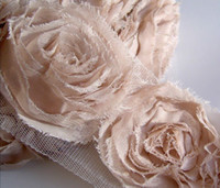 chiffon fabric - Cream Beige D Rose Chiffon Mesh Lace Fabric Shabby Trim Trimming Wedding headbands hair accessories costume Free Post