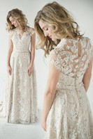 Wholesale 2014 Lace Wedding Dresses A Line V Neck vintage inspired wedding dress glamorous with Short sleeves Summer Beach Bridal Wedding Gowns