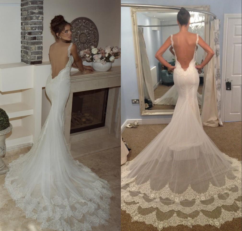 Galia lahav new amazing lace applique spaghetti mermaid for Trumpet wedding dress with long train
