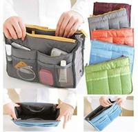 Monederos de las señoras de color beige Baratos-Nuevo revestimiento señora ama necesario mujeres viajes Inserte bolso bolso grande cosméticos bolsas organizador bolsa almacenamiento bolsas increíble mezcla colores
