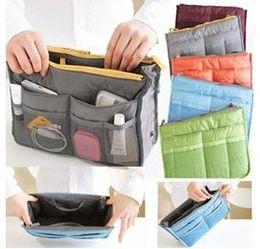 Monederos de las señoras de color beige en Línea-Nuevo revestimiento señora ama necesario mujeres viajes Inserte bolso bolso grande cosméticos bolsas organizador bolsa almacenamiento bolsas increíble mezcla colores