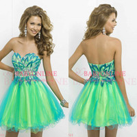 Wholesale 2014 Fashion Colorful Tulle Cocktail Homecoming Dresses Sexy Sweetheart Backless Crystal Beaded Bodice Mini Short Party Prom Gowns BL9721