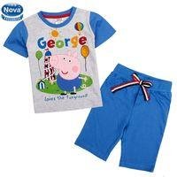 Boy Summer Short 2014 New Wholesale CD4743# Nova Baby Boy Peppa Pig Boys Set For 18m-6Y Kids Short Beach Suit Children Cotton Clothes Summer Wear 5 Sets Lot