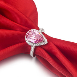3ct Pear Cut Pink SONA Synthetic Diamond Ring for Women Sterling Silver Ring 18k White Gold Plated Wedding Engagement Ring
