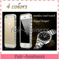 Wholesale 4 Colors Classic Luxury Metal Chain Watch Shaped Aluminium Bumper Case Cover for iPhone G S Metal Frame Free Screen Protector
