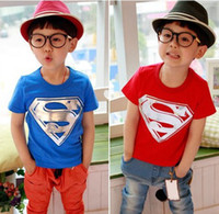 Boy Summer Standard Superman T shirt Children Kids Clothing Tees Cool Superman Baby Boys Summer T-shirt Kids Outwear T Shirts AF3