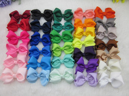 Wholesale 32colors inch grosgrain ribbon hair bows WITH Clip baby hairbow Boutique bow for Children hair accessories