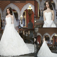 Wholesale 2014 Designer Vintage Wedding Dresses A Line Sweetheart Sleeveless Backless With Sashes Court Train Lace Bridal Gowns Free Shiping