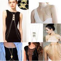 Wholesale Bikini Beach Crossover Harness Necklace Waist Belt Belly Unibody Body Chain Gold