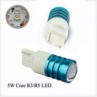 Wholesale pair V W T20 LED back up light brake lamp turn light CREE R5 LED with lens white