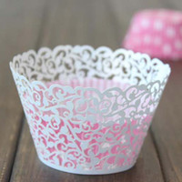 Wholesale Laser Cut Filigree Vine Cupcake Wrapper Vine Cake Liners Wedding Party Baby Shower Favor