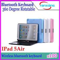 Wholesale DHL Degree Rotatable Bluetooth keyboard for ipad Air Bluetooth keyboard Case For ipad air YX AP