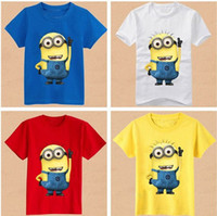 Wholesale Despicable Me Minion Boys Girls Cotton Short Sleeve T shirts kids Children s T Shirts Apparel Kids Tops Tees AF5