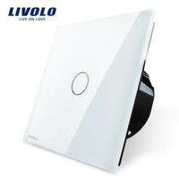 CE Touch On/Off Switch White Free Shipping, Livolo Luxury White Crystal Glass Switch Panel, EU Standard, VL-C701-11,110~250V Touch Screen Wall Light Switch