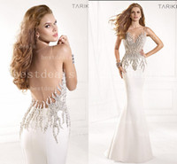 White Sheer evening dresses 2014 Illusion Crew Neck Crystals...