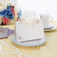 Wholesale White Love Heart Wedding Place Cards Laser Cut Table Name Cards Wedding Party Favors