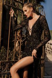 Wholesale Galia Lahav Mermaid V Neck Lace Tulle Long Sleeve Sheer Neck Split Side Beading Black Wedding Dress Evening Wear Dresses Bridal Gowns