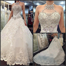 2014 New Luxury Wedding Dresses With Halter Swarovski Crystals Beads Backless A Line Chapel Train Lace Bling Customed Ivory Bridal Gowns