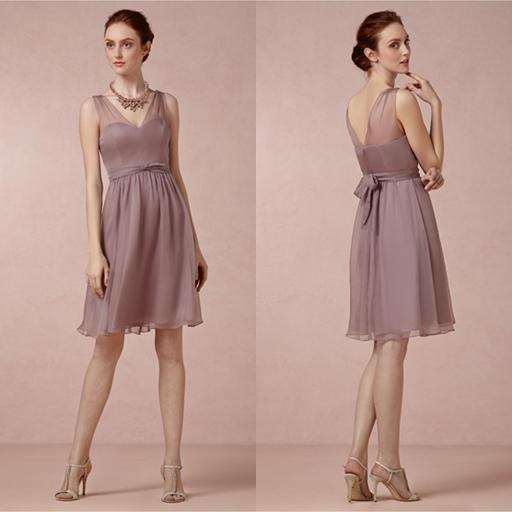 2014 summer bridesmaid dress v neck chiffon wedding party for Junior wedding guest dresses for summer