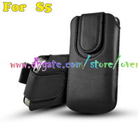 Leather bag magnets - Universal Pull Tab Magnet Close Flip Leather pouch pouches case cases cover Slim bag bags for Samsung Galaxy S5 SV I9600