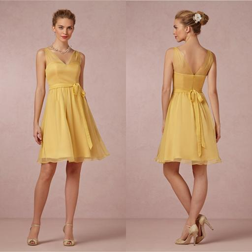 2014 summer bridesmaid dress yellow chiffon wedding party for Junior wedding guest dresses for summer
