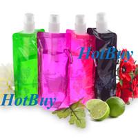 FDA aluminum drink bottles - New ml oz Reusable Foldable Water Drink Bottle Bag with Carabiner Clip Hook Sports Lunch