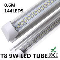 T8 9w SMD 3528 LED Tube Light Lamp T8 SMD 3528 LED Fluorescent Tube Light T8 AC85-265V SMD3528 144led 9W 900lm 0.6M 2FT High Bright Espitar Aluminum Tube