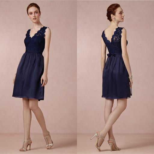 2014 bridesmaid dress navy blue lace wedding party dress for Wedding guest dresses juniors