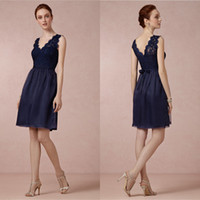 Wholesale 2014 Bridesmaid Dress Navy Blue Lace Wedding Party Dress Short Simple Cocktail Dress Cheap Junior Bridesmaid Dresses Wedding Guest