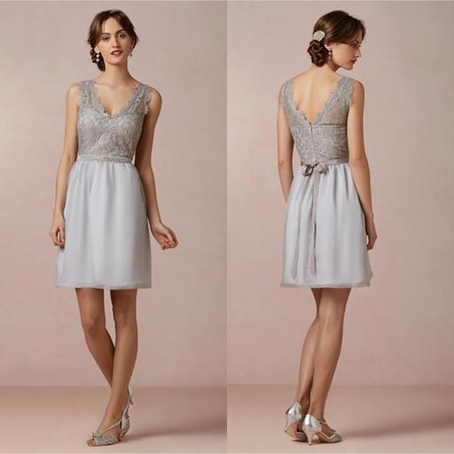2014 lace bodice bridesmaid dress silver grey chiffon for Junior wedding guest dresses for summer