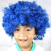 Wholesale Colored Exaggerated Funny Explosive Wigs For Clown Halloween Football Fans Dance Dress Up Party Props