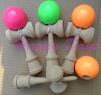 Wholesale Via Fedex Fluorescent Kendama Ball Japanese Traditional Wood Game Kids Toy Fluorescent Paint amp Beech