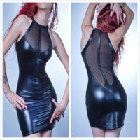Wholesale Fetish Sexy Black PVC Dress Club Wear Ladies Bondage Fancy Dress Translucent Mesh Back Costume