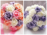 Wholesale High Quality Artificial Simulation Foam Rose Bouquets Bride Bouquet Bridesmaid Flower Ball Romantic Wedding Flowers Valentine s Day Gift