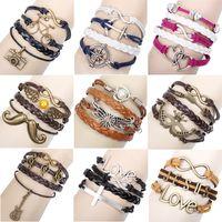 Wholesale 10pcs New Fashion Alloy Rudder Leather Woven Love Couple Charm Bracelet drop shipping