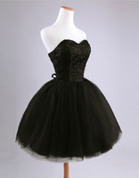 Real Photos Sweetheart tulle /Satin 2016 New Sexy Ball Gown Strapless Beading Lace Short Mini Graduation Dresses Bridesmaid Dresses Prom Party black white red R